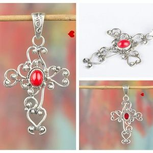 Oval Coral Pendant 925 Silver Necklace Crystal